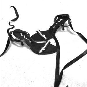 Nina heels strappy black ribbon